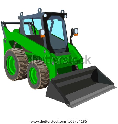 The green truck with a scraper to lift cargo. - stock vector