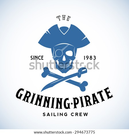 The Grinning Pirate Sailing Crew Abstract Vector Retro Logo Template or Vintage Label with Typography. Isolated - stock vector
