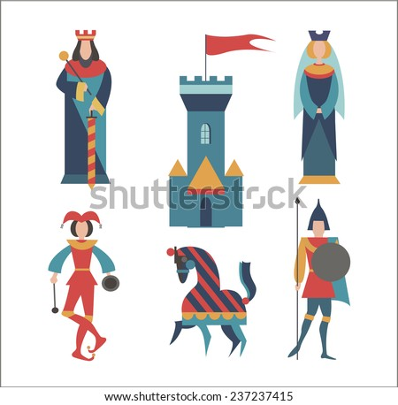 The Group of figures - The King,  The Queen, soldier, horse, clown and a medieval castle - stock vector