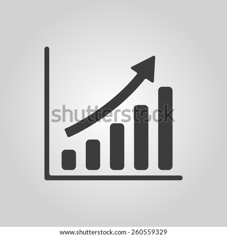 The growing graph icon. Progress symbol. Flat Vector illustration