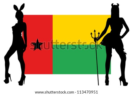 The Guinea Bissau flag with silhouettes of women in sexy costumes