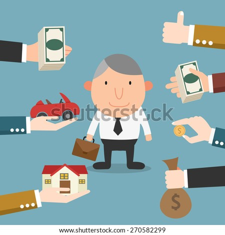 The guy got many job offers from companies persuading him with benefits - stock vector