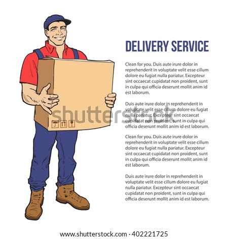 The guy is full height with the box, man holding parcel, vector color illustration, sketch style hand-drawn to the concept of delivery of stuff, transportation of goods, moving to another house - stock vector
