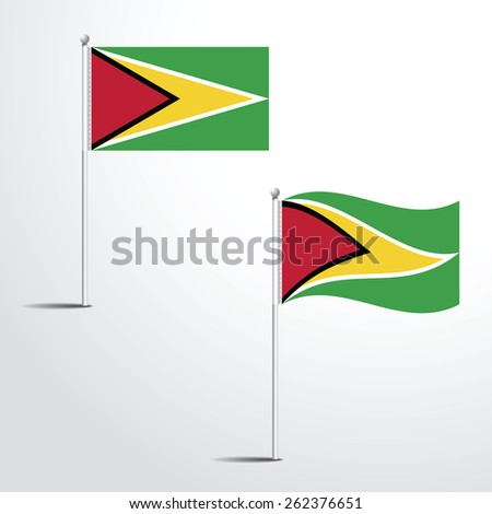 The Guyana flag normal and waving flag set | Usa abstract flag vector eps 10 - stock vector