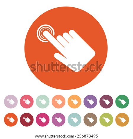 The hand click icon. Cursor symbol. Flat Vector illustration. Button Set - stock vector
