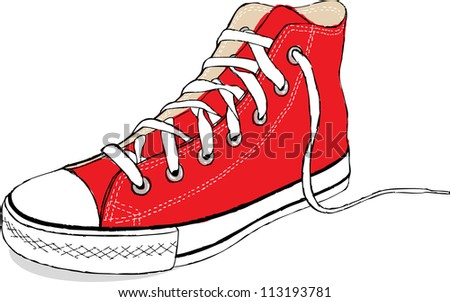 The hand draw vector modern red sport shoes, illustration - stock vector