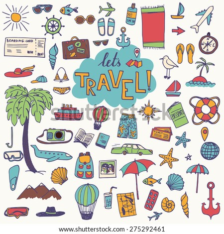 The hand drawn travel objects for your design. Doodles and lettering.