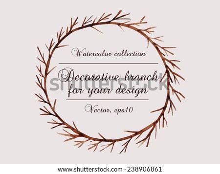 The hand drawn vector circular decorative element for your design. Leaves, swirls, floral elements.  - stock vector