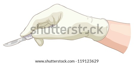 The hand holds a scalpel. Vector illustration. - stock vector