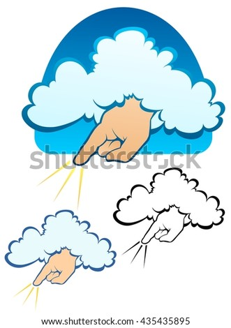 The hand of god coming down from a cloud - stock vector