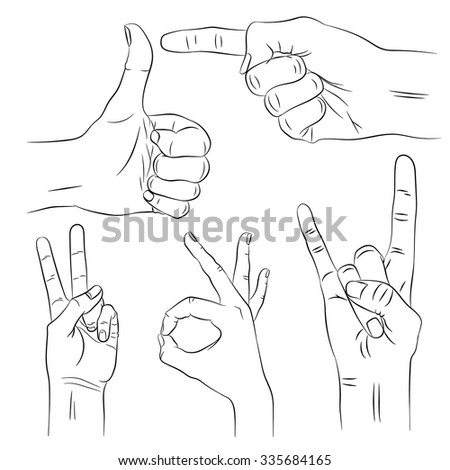 The hand of man set. Thumb up. Pointing finger.Victory sign. OK sign with fingers.Horns gesture fingers. - stock vector