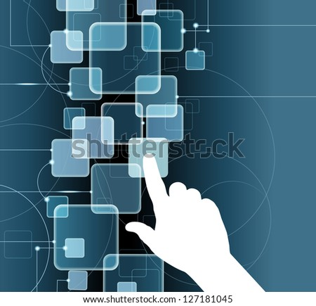 The hand pushing one of several button. Choice concept. Vector illustration. File is saved in AI10 EPS version. This illustration contains a transparency - stock vector