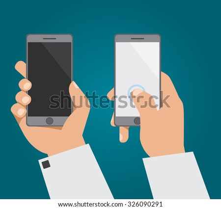 The hand with the phone in two positions - stock vector
