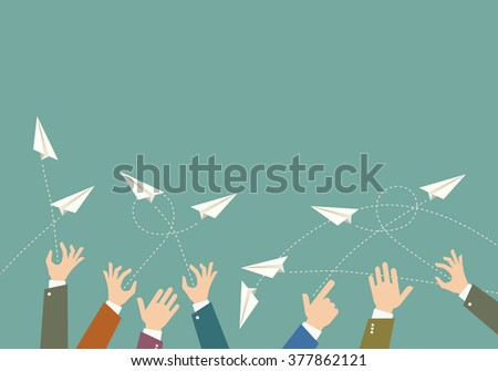 The hands throw paper airplanes. Vector illustration.