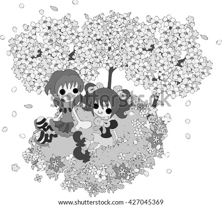 The handwritten style illustration of girls talking at the place where the flower tree and the field is in full glory