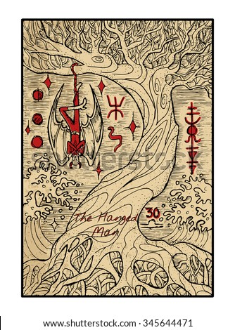 The hanged man.  The major arcana tarot card in color, vintage hand drawn engraved illustration with mystic symbols. Vampire Dracula or demon hanging on the old tree. - stock vector