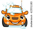 The happy orange car on a car wash. - stock vector