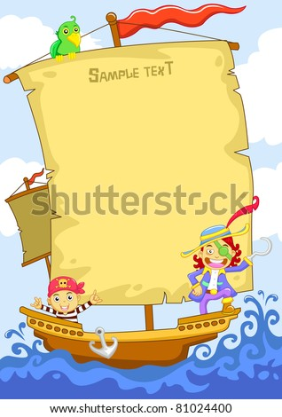 The happy pirate cartoon frame - stock vector