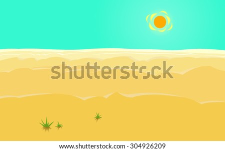 The hard desert sun. The sea of the desert. Vector illustration of gigantic dunes in the desert, with a huge sun and a big sky in the background. Concept. Postcard. Poster. Background. - stock vector