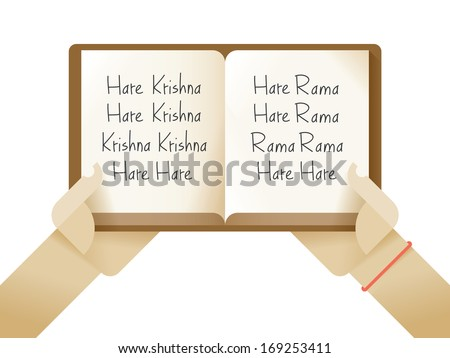 "The Hare Krishna mantra (Maha Mantra, ""Great Mantra"") in the opened book.  - stock vector"
