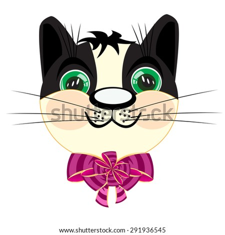 The Head kitty with rose bow on neck.Vector illustration