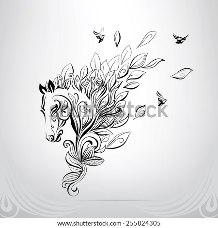 The head of a horse in an ornament - stock vector