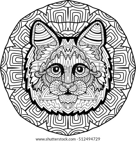 the head of a maine coon is drawn by hand with ink with ethnic patterns