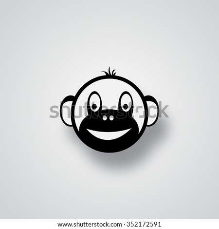 The head of a monkey. The symbol of the new year 2016 - stock vector