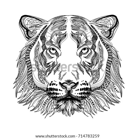 Bear head tattoo psychedelic stock vector 194003033 shutterstock - Tigre mandala ...