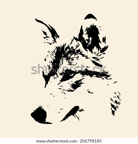 The head of a wolf female, isolated on sepia background. Side face portrait of a forest dangerous beast, Canis lupus lupus. Amazing monochrome vector image. Great for user pic, icon, label, tattoo. - stock vector