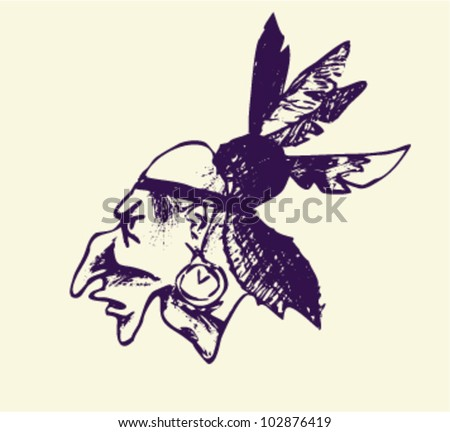 The head of an Indian warrior. Handmade. Vector illustration for your design - stock vector