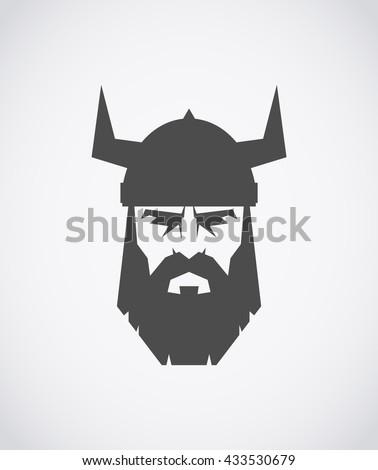 The head of Viking wearing a helmet - stock vector