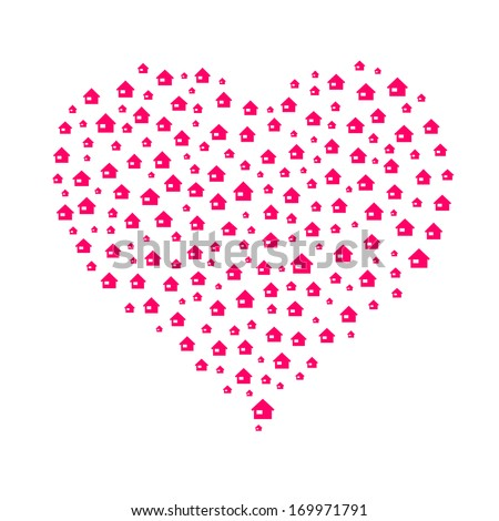 The heart composition made out of house icons / the lovely home / the sweet home  - stock vector