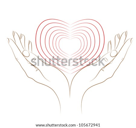 The heart in female hands. The concept - love. Vector. - stock vector