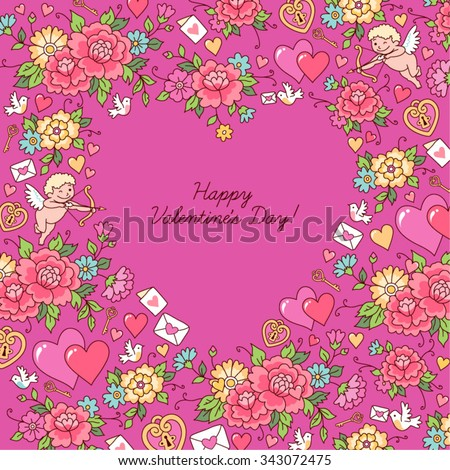 The heart inside the floral ornament on pink background.  Greeting card for Valentine's day.