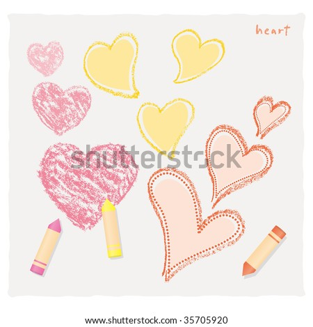 The heart of the crayon - stock vector