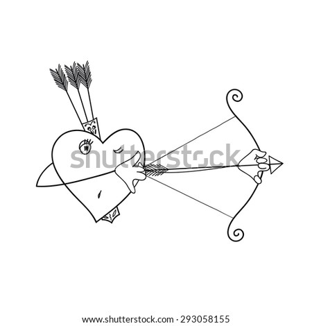 the heart of the hunter. heart vector background - stock vector