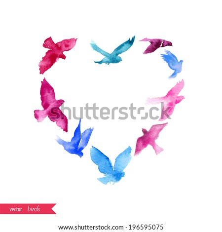 The heart of the watercolor birds. Can be used for postcard, valentine card, wedding invitation - stock vector