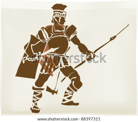 The heroic legionnaire illustration - stock vector