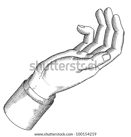 The holding hand with open palm gesture