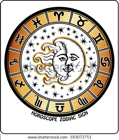 The  Horoscope circle with signs and of the zodiac. Inside the symbol of the sun and moon with stars. Retro style. Vector illustration