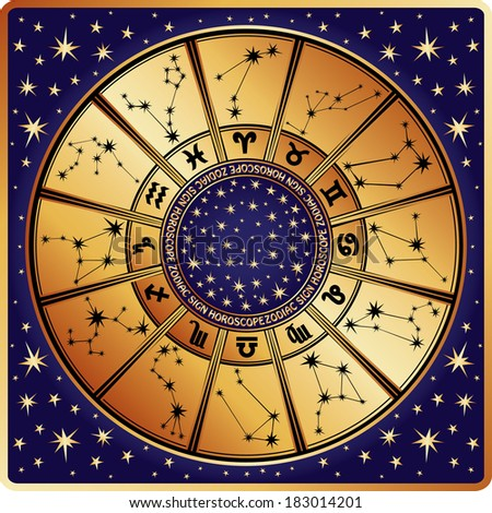 The Horoscope circle with  Zodiac signs and constellations of the zodiac.Inside are text and stars.Retro style.Vector illustration
