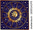 The Horoscope circle with  Zodiac signs and constellations of the zodiac.Inside the symbol of the sun and moon.Retro style.Vector illustration - stock photo