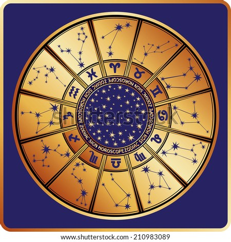 The Horoscope circle with  Zodiac signs ,stars and constellationn in round.Retro style.Vector illustration in square - stock vector