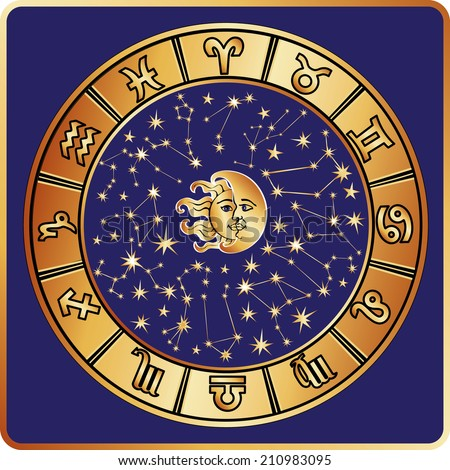 The Horoscope circle with  Zodiac signs ,stars and symbol of the sun and moon.All constellation in round.Vector illustration in square - stock vector