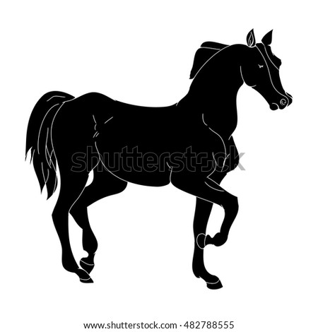 The horse goes trotting pony silhouette on white background, vector illustration