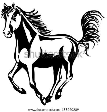 The horse is running. Black-and-white drawing. Silhouette. - stock vector