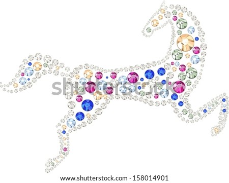 The horse made of multicolored rhinestones