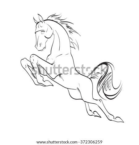the horse reared, drawing, vector drawings izoliorovanny symbol, logo icon - stock vector