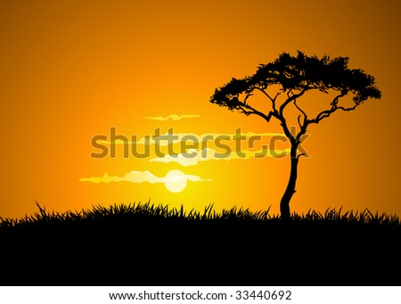 The hot glowing sun sets behind a hill silhouetting the tall savanna tree. - stock vector